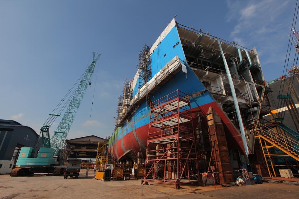 RV Investigator under construction on the Sembawang wharf