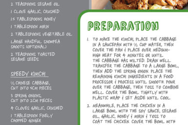 Infographic with recipe for Korean chicken with kimchi