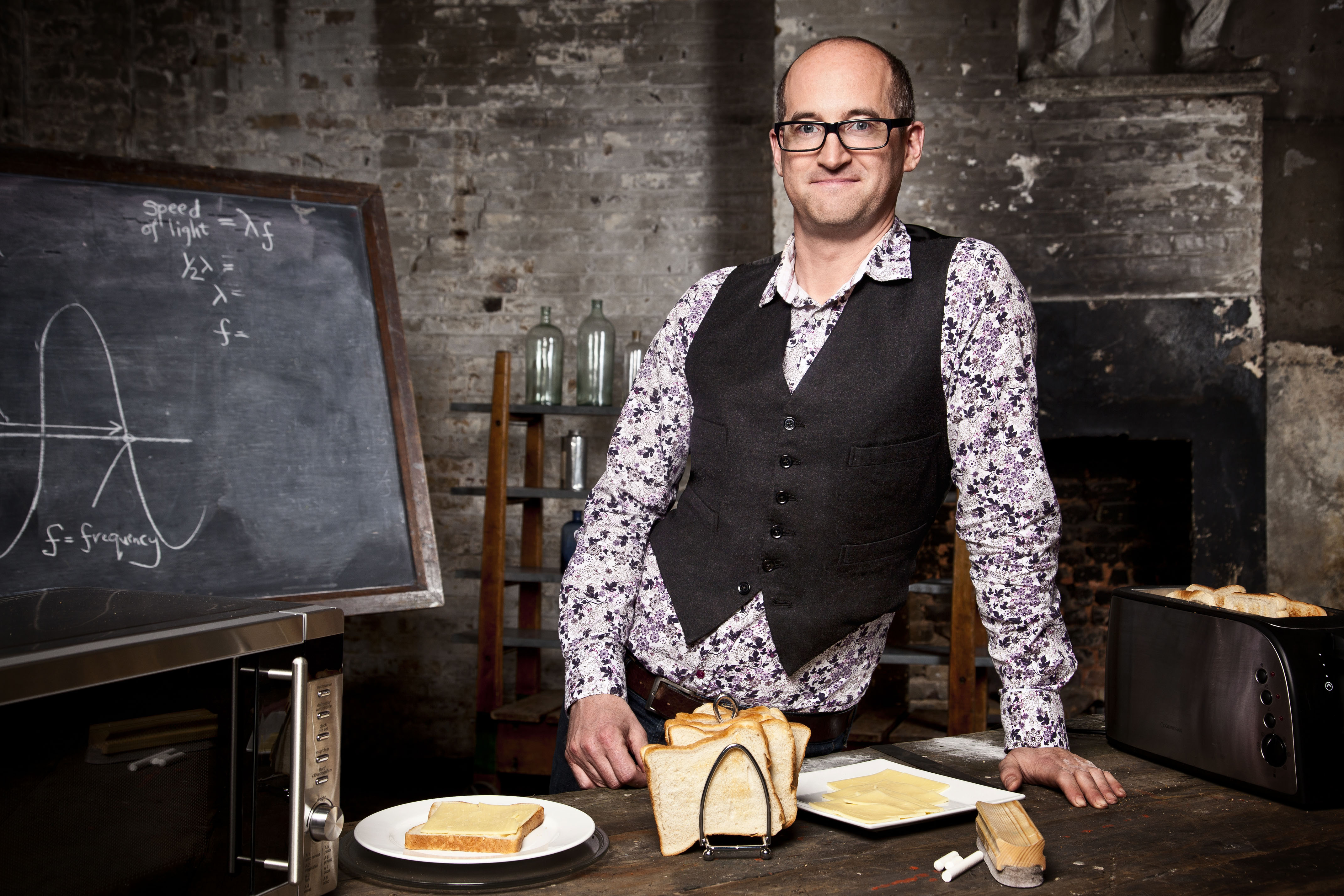 Mark Miodownik, measures the speed of light using cheese on toast.