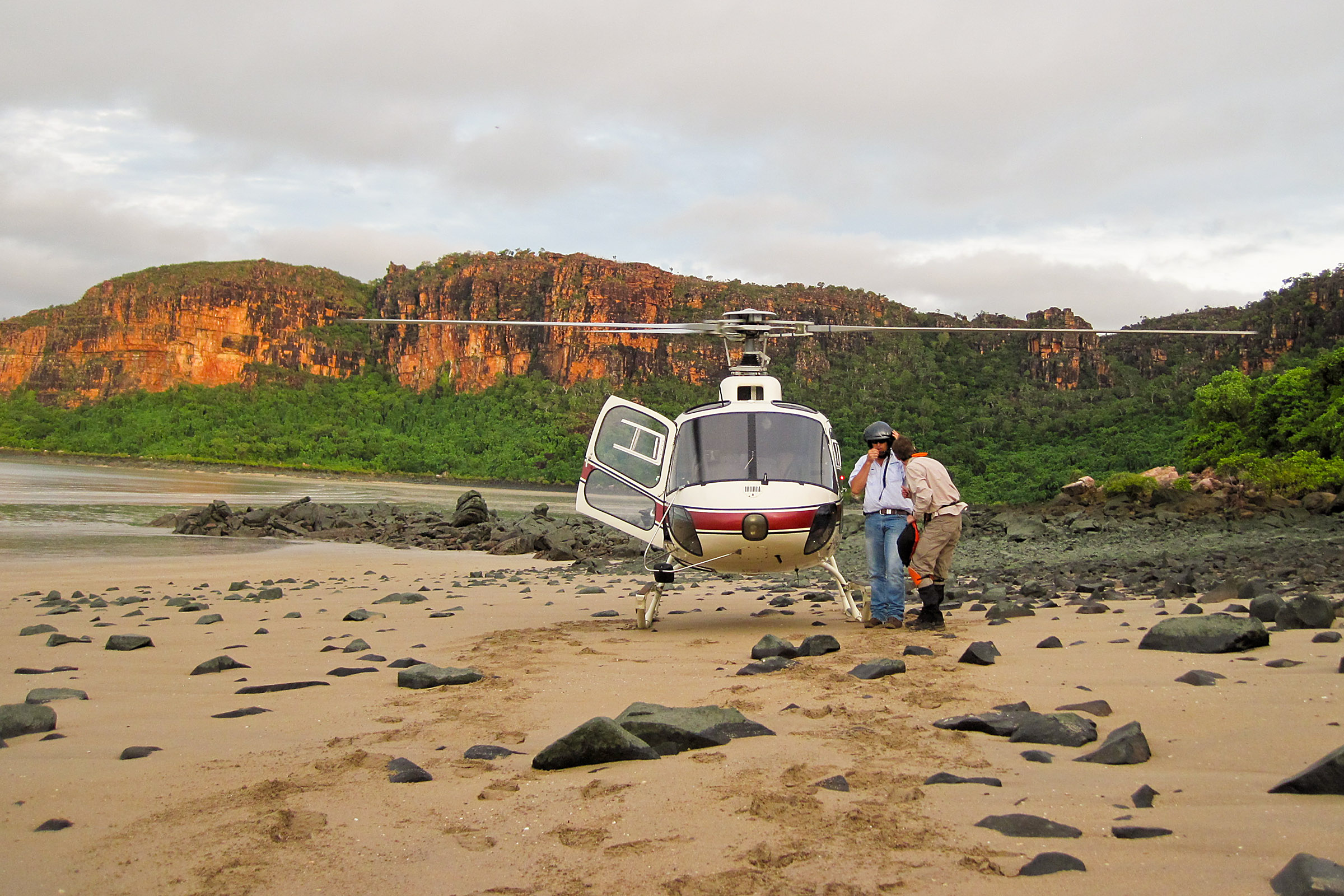 Helicopters are the best way to reach remote areas of the Kimberley. Image: Anna Simonsen