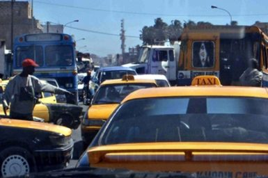 Yellow taxis in a traffic jam