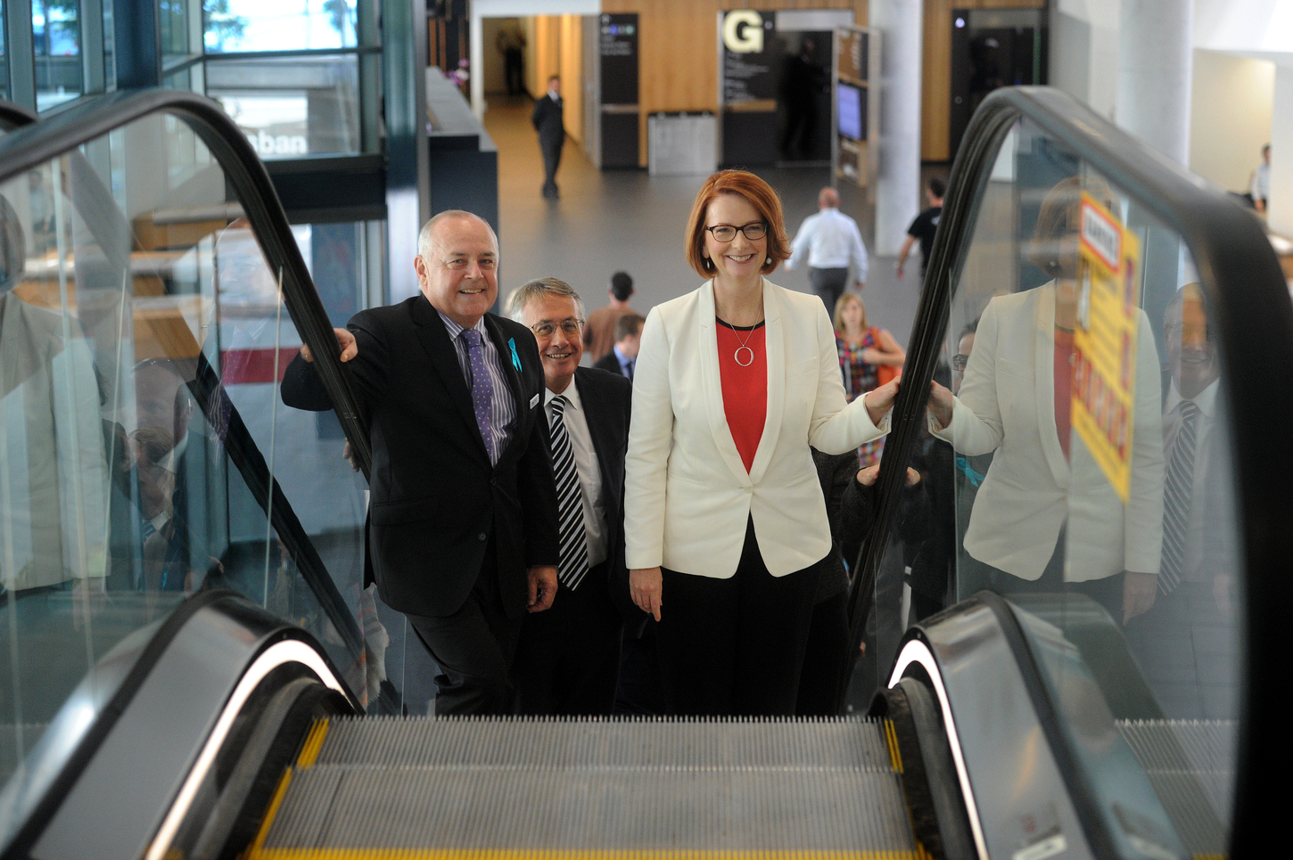 General manager Robert O'Keefe accompanies Julia Gillard and Wayne Swan during an inspection of the Convention Centre in Brisbane, the site of the 2014 G20 Summit. Image: AAP.