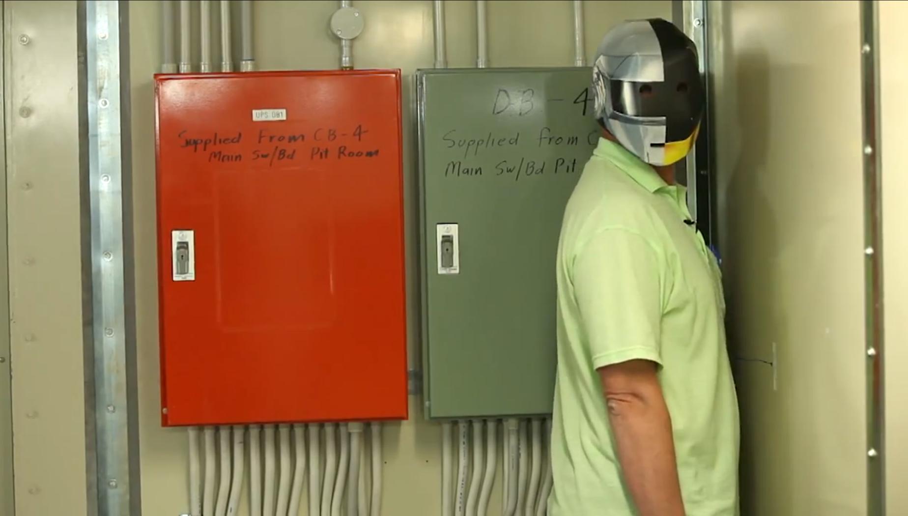 Researcher in helmet