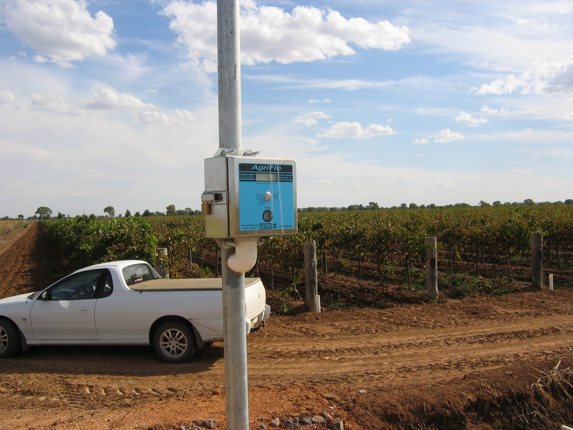 Ultrasonic water meter used to measure water applied to irrigation fields