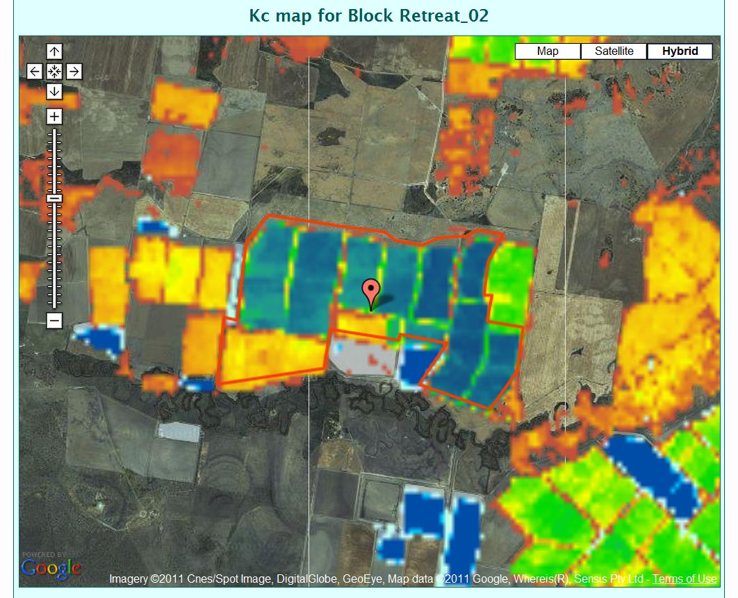 Map showing the projected crop water needs of irrigated crops determined by the IrriSAT technology
