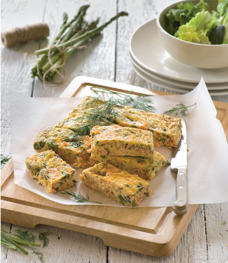 Salmon And Asparagus Frittata Recipe — Dishmaps