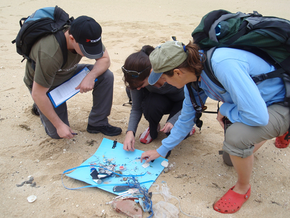 CSIRO scientists and helpers getting down and dirty with marine debris.