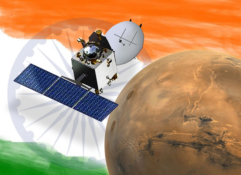 The Indian space agency's MOM (Mars Orbiter Mission) spacecraft. Image: ISRO/Astro0