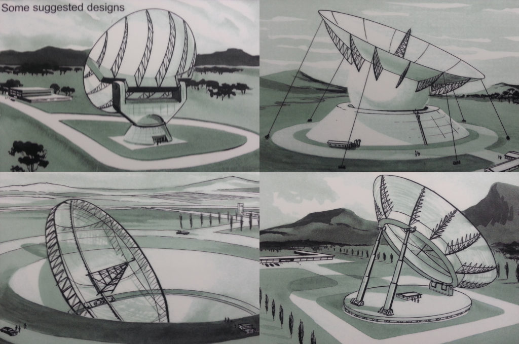 four of the designs put forward for the Parkes radio telescope.