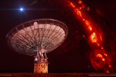 The parkes telescope with clouds of red gas in the background.
