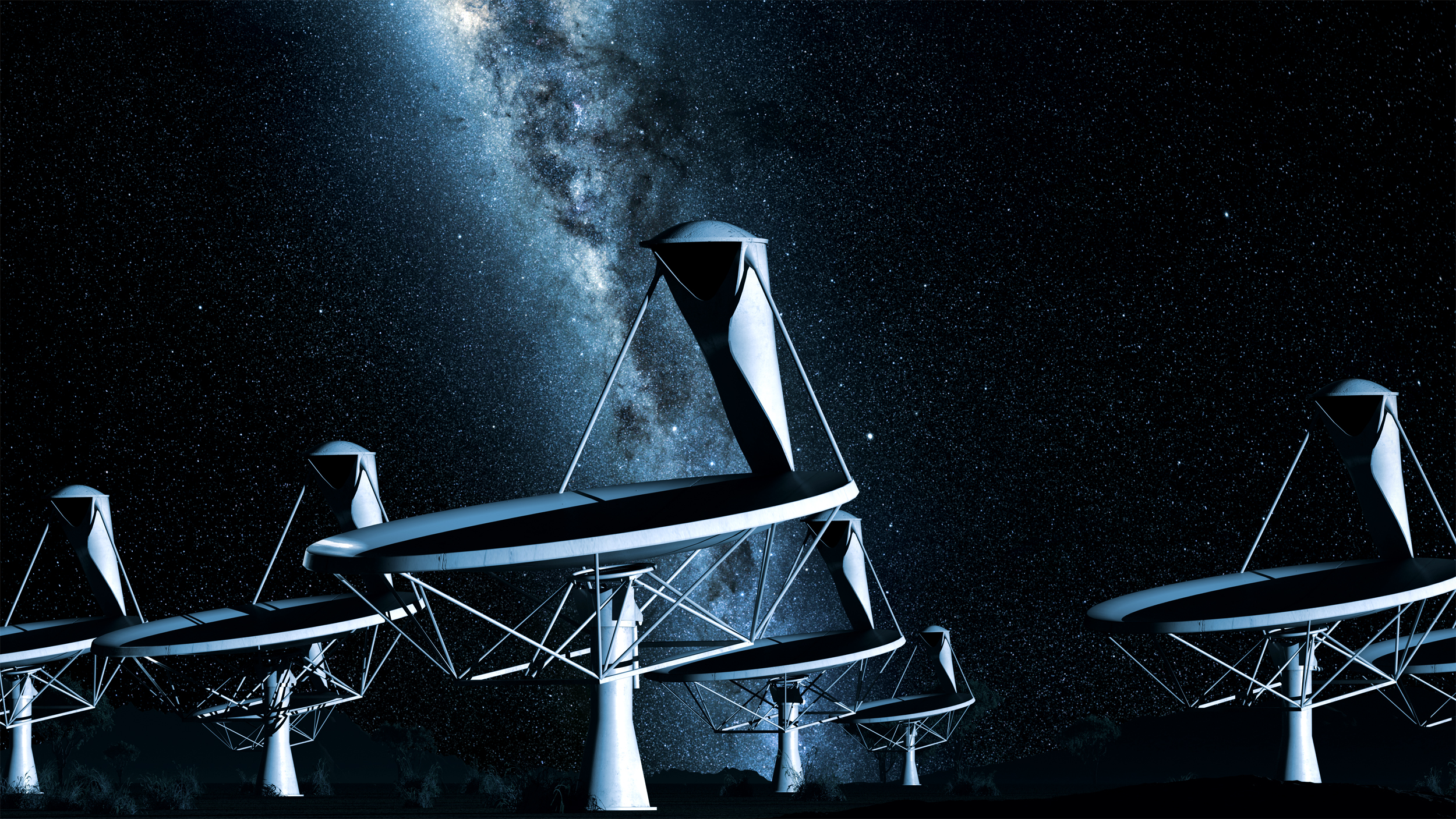 Computer-generated image of four antennas, set against the Milky Way.