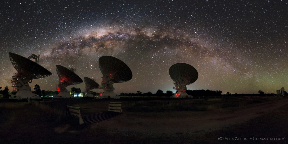 Our ATCA telescope in Narrabri, NSW - the perfect place for the trials. Image credit: Alex Cherney (terrastro.com)