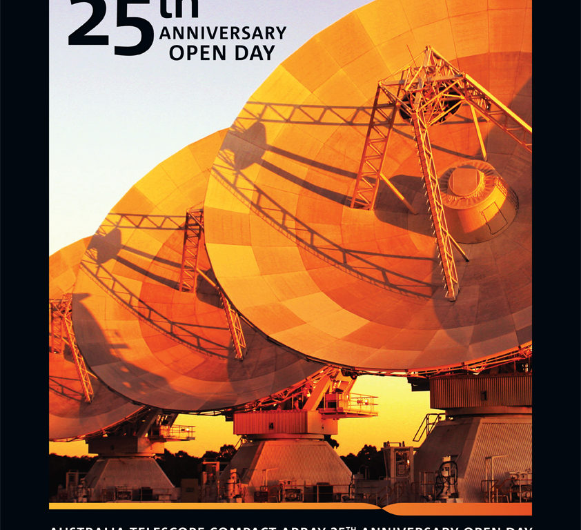 Poster for the ATCA Open Day, showing three antenna faces lit up with sunlight.