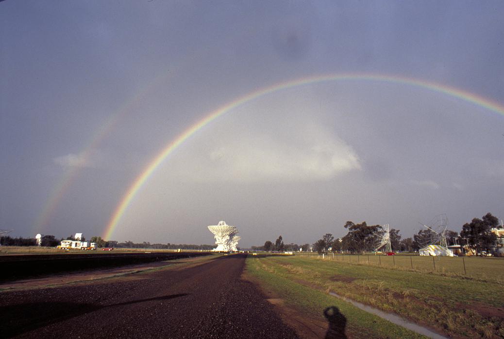 Rainbow above antennas of the Australia Telescope Compact Array.