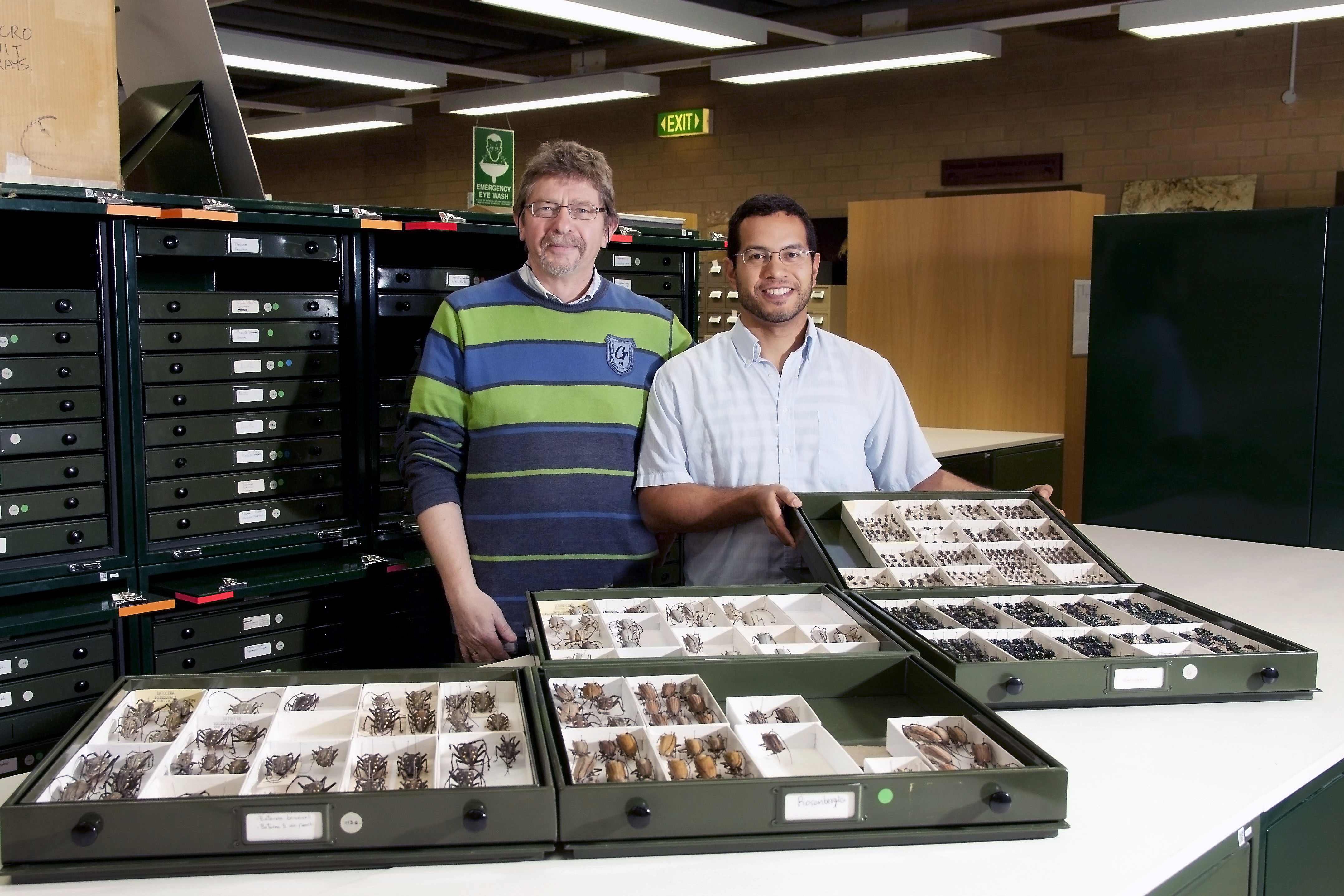 Two men with trays of insects