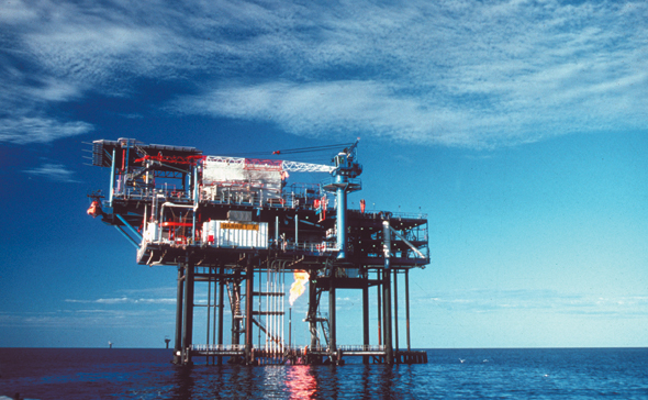 An offshore oil and gas drilling platform in Australian waters.
