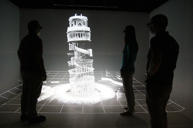 A display of the final Zebedee 3D map of the Leaning Tower of Pisa.