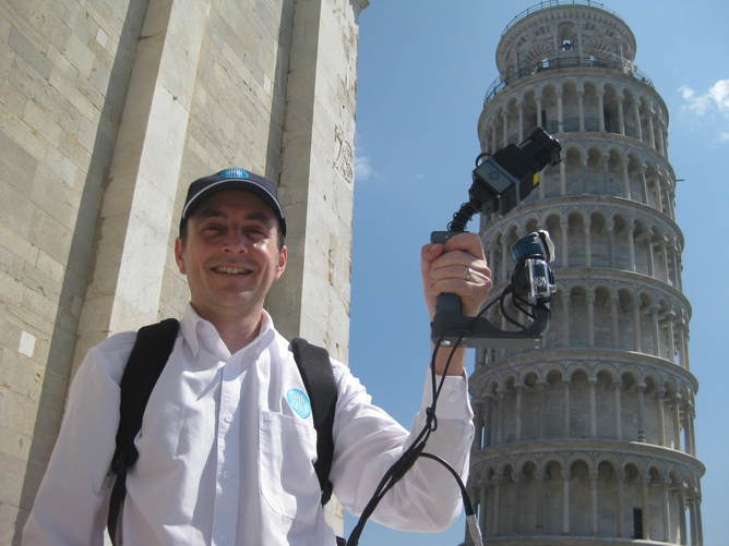 Jonathan Roberts, Program Leader for CSIRO's Computational Informatics Division scanning the Leaning Tower of Pisa with new Zebedee technology.