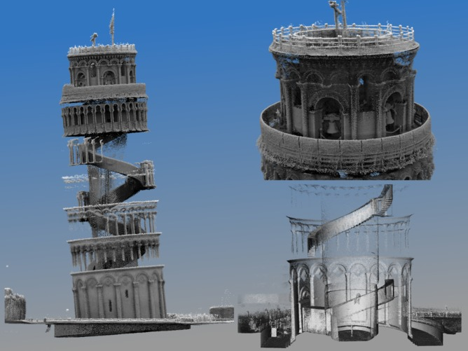 Screen shot of 3D point cloud created from CSIRO's Zebedee scan of the Leaning Tower of Pisa.
