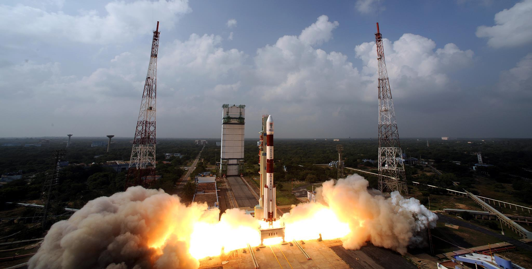 ISRO's PSLV rocket lifts off from the Satish Dhawan Space Centre. Image: ISRO