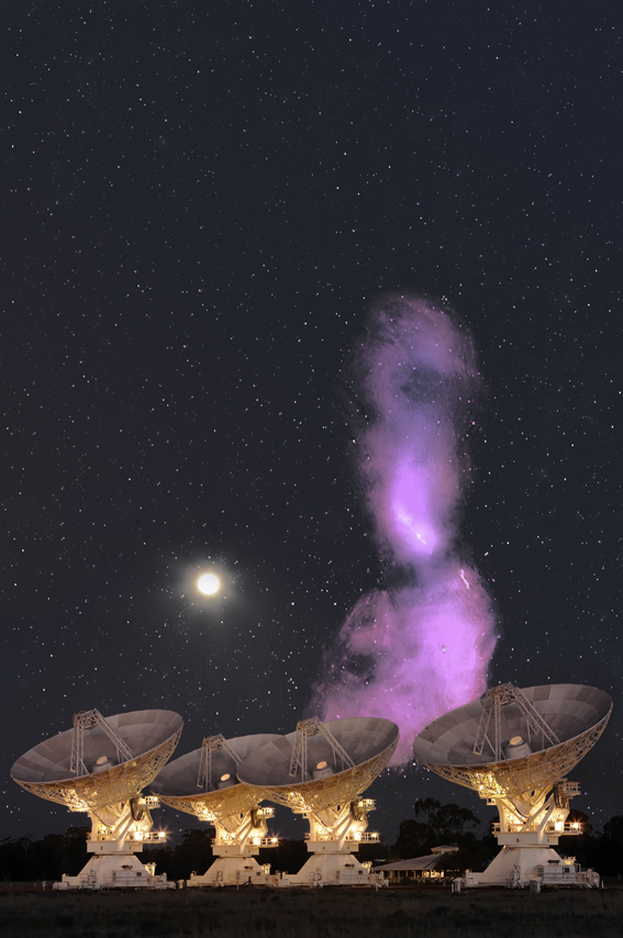 A radio image of the galaxy Centaurus A, shown to scale against the full Moon and the Australia Telescope Compact Array. Radio image: I. Feain, T. Cornwell, R. Ekers ; R. Morganti; N. Junkes. Foreground photo: S. Amy