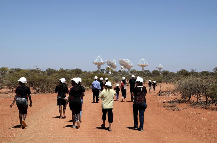 Walking towards the ASKAP antennas at the MRO.