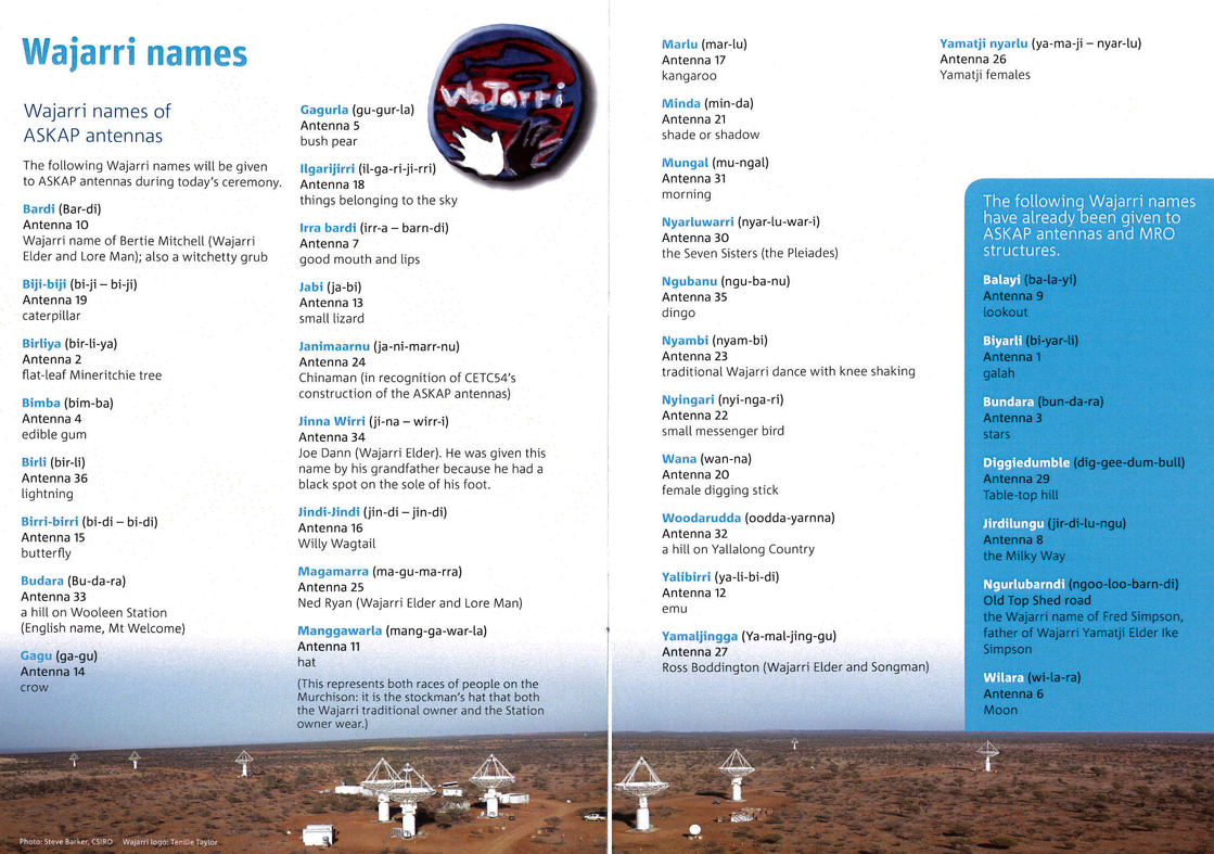 The traditional Wajarri names (and their meanings) bestowed on each of the 36 ASKAP antennas.