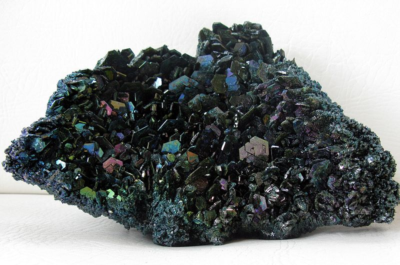 A lump of black crystalline material