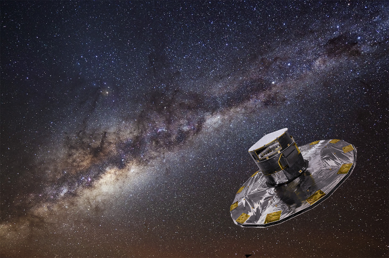 A spacecraft with the Milky Way in the background.