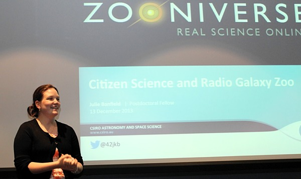 Dr Julie Banfield, Radio Galaxy Zoo Principal Investigtor, describing the Radio Galaxy Zoo Project at the recent Astroinformatics Conference at CASS Headquarters.