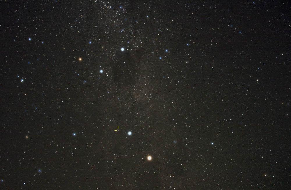Annotated image marking the magnitude 3.8 nova in Centaurus. Photo: J.Sarkissian, CSIRO
