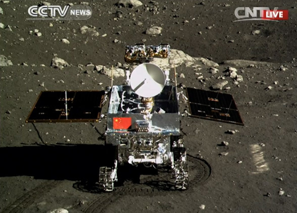 Yutu on the Moon. An image taken by the lander craft of the rover on the surface.
