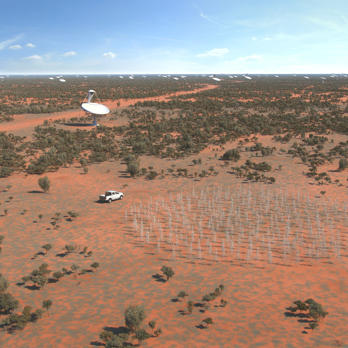 An artist's rendition of the SKA-Low Frequency Aperture Array (LFAA) and survey telescopes in Australia. The SKA survey telescope will have 96 dishes, including 36 antennas of CSIRO's Australian SKA Pathfinder. Credit: SKA Organisation