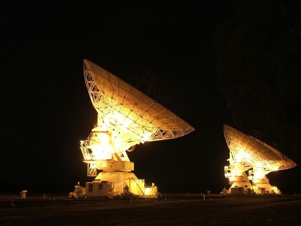 My favourite telescope – ATCA – lit up at night. Photo by Tui Britton.