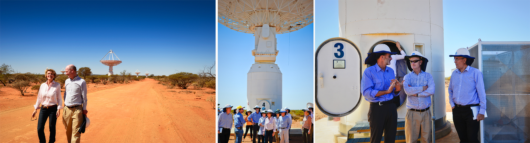 Minister Bishop and Minister Willets in front of our ASKAP antennas; the visitors at the base of an ASKAP antenna; CASS Chief Lewis Ball, Minister Willets and CSIRO Information Sciences Lead Dave Williams.
