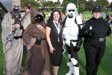 Astrofest Coordinator, Kirsten Gottsschalk from ICRAR helping out some interstellar visitors to Astrofest.