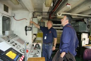 The MNF's Mike Jackson gives author Michael Veitch a tour of Southern Surveyor 1