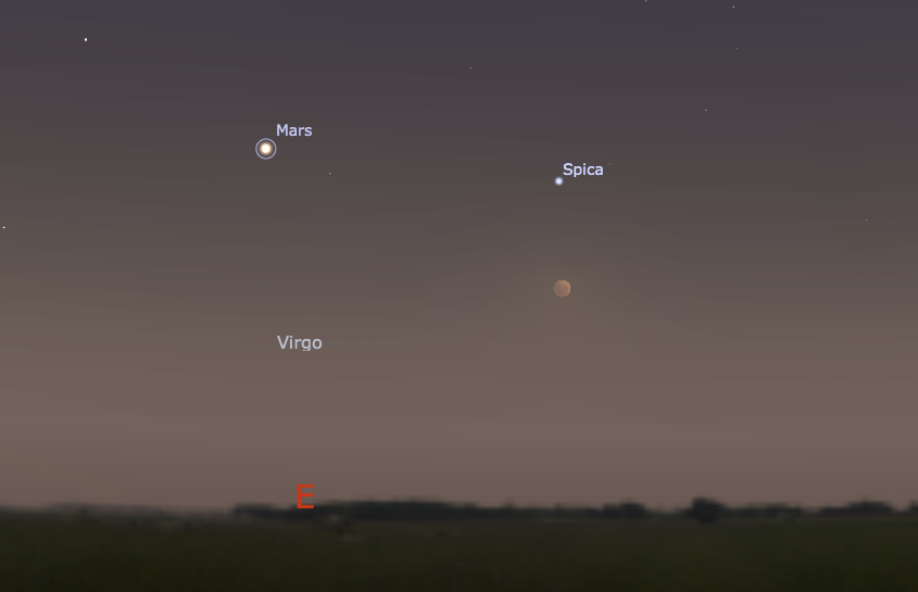 This screenshot from Stellarium shows the eclipsed Moon and Mars in the eastern sky near Sydney at 6pm, Tuesday 15 April 2014.
