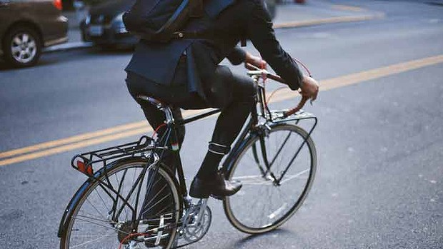 I can't believe it's not lycra. The bike-friendly features including button-up leg are perfect for riders. Image: The Age