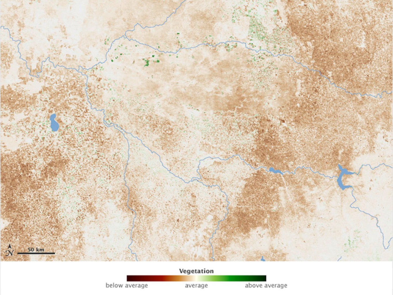 The same region in September 2006. This and the image above show how growing conditions compared to average mid-September conditions over 2000 to 2011. See more images here: http://1.usa.gov/RSMka6 NASA, CC BY-NC-ND