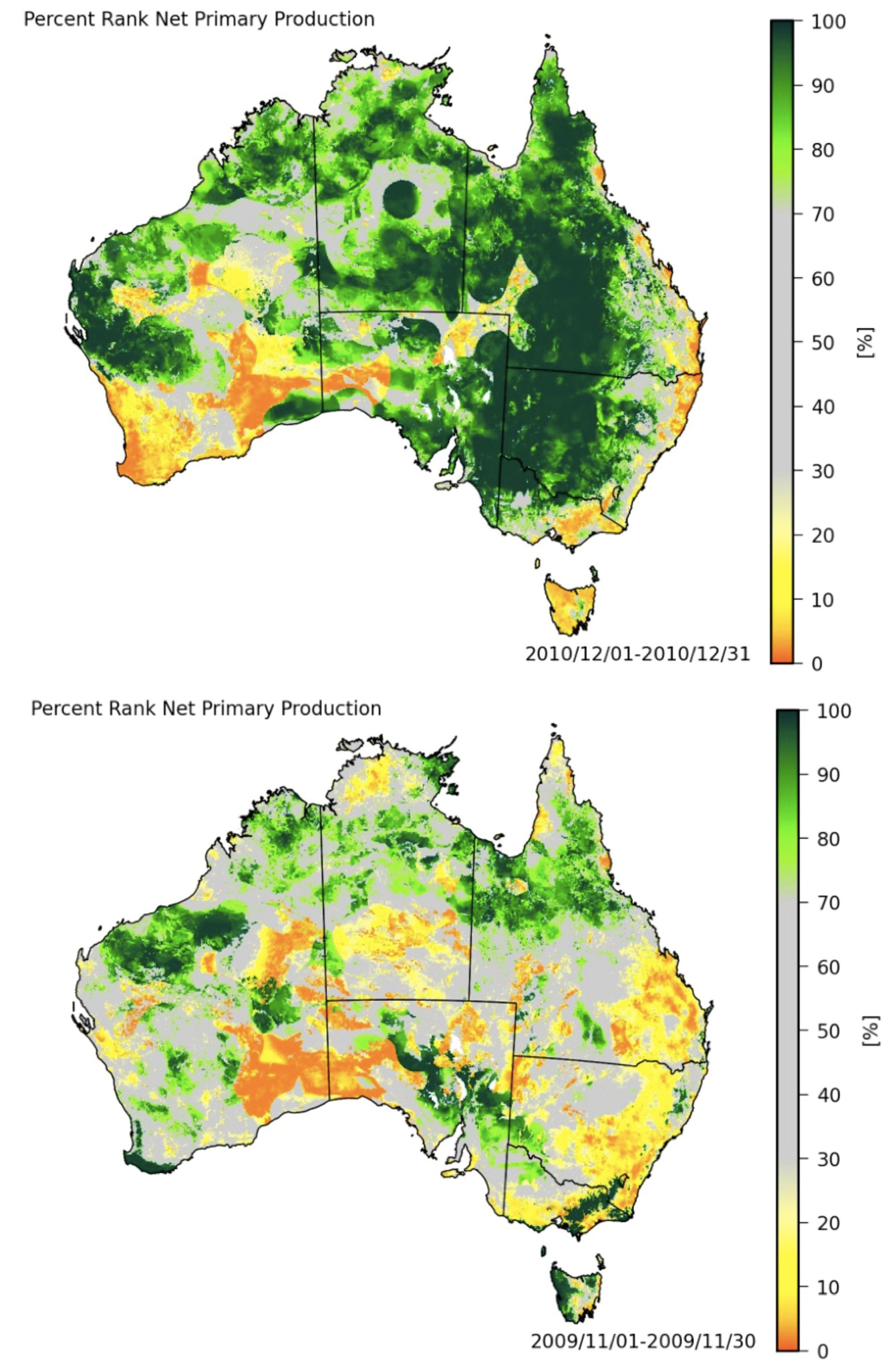 The modelled net carbon uptake of the Australian landscape in December 2010 at the start of the big wet (top), compared with December 2009 (bottom).