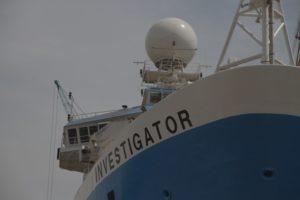 RV Investigator's weather radar and main mast