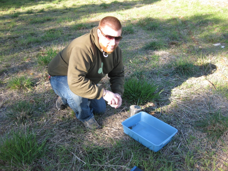 Matt Hill gathering samples of mites in southern NSW