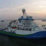 RV Investigator at anchor in Singapore (Image Shane Kromkamp/MNF)