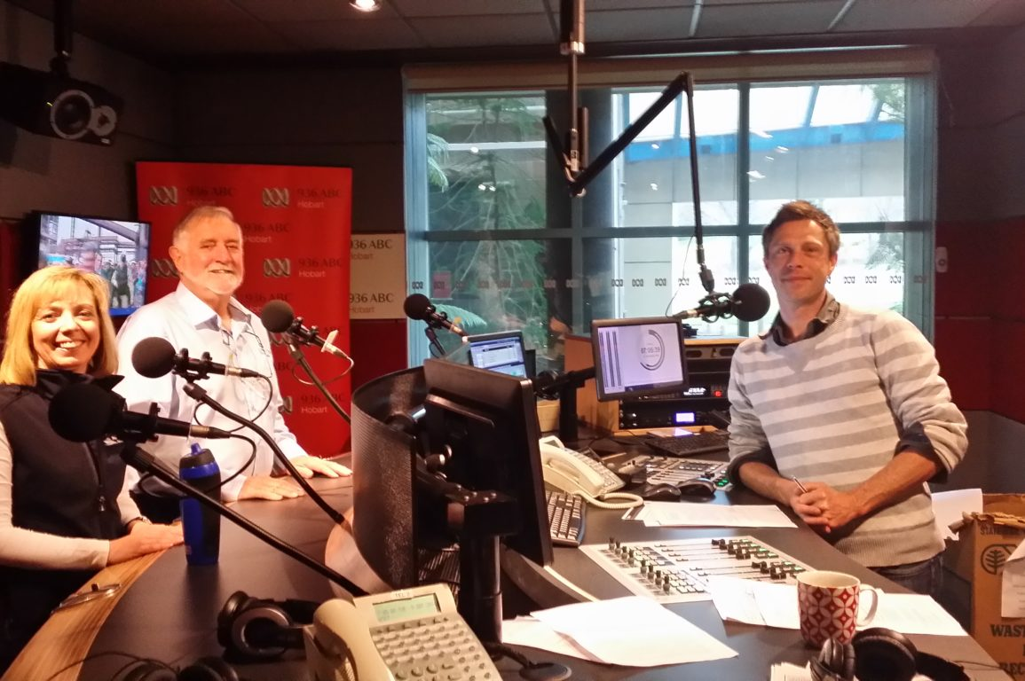 Toni Moate, Dr Brian Griffiths and Ryk Goddard in the 936 ABC studios
