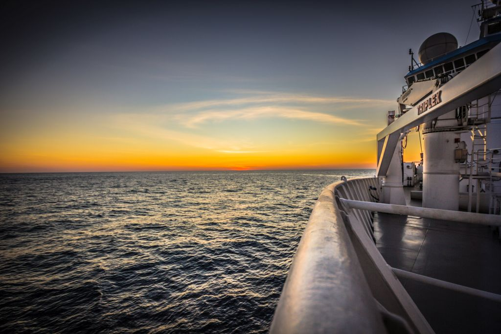 Sunset from the deck of the Investigator