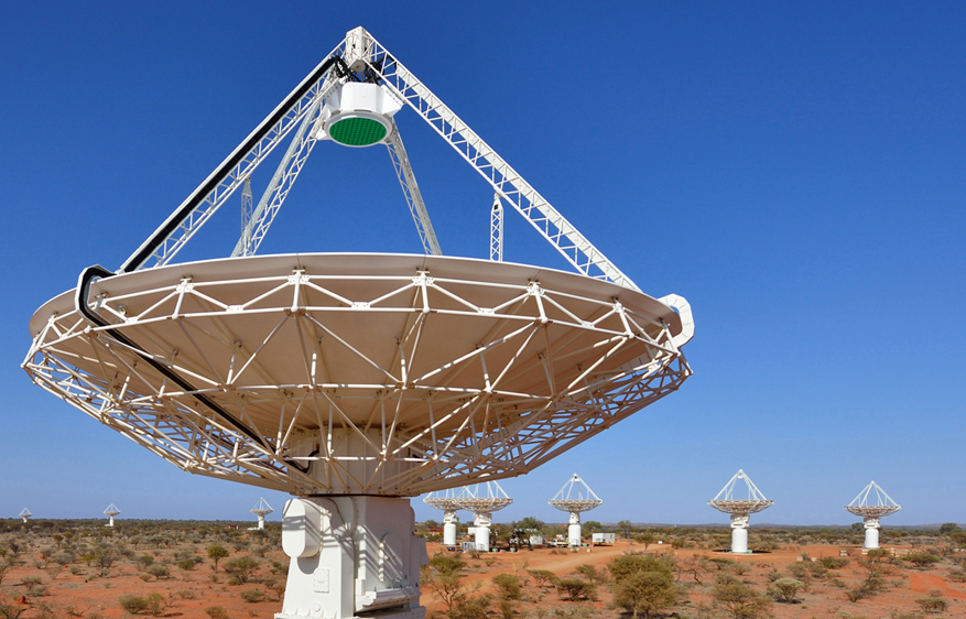 One of the ASKAP radio dishes, located in a remote area of Western Australia.