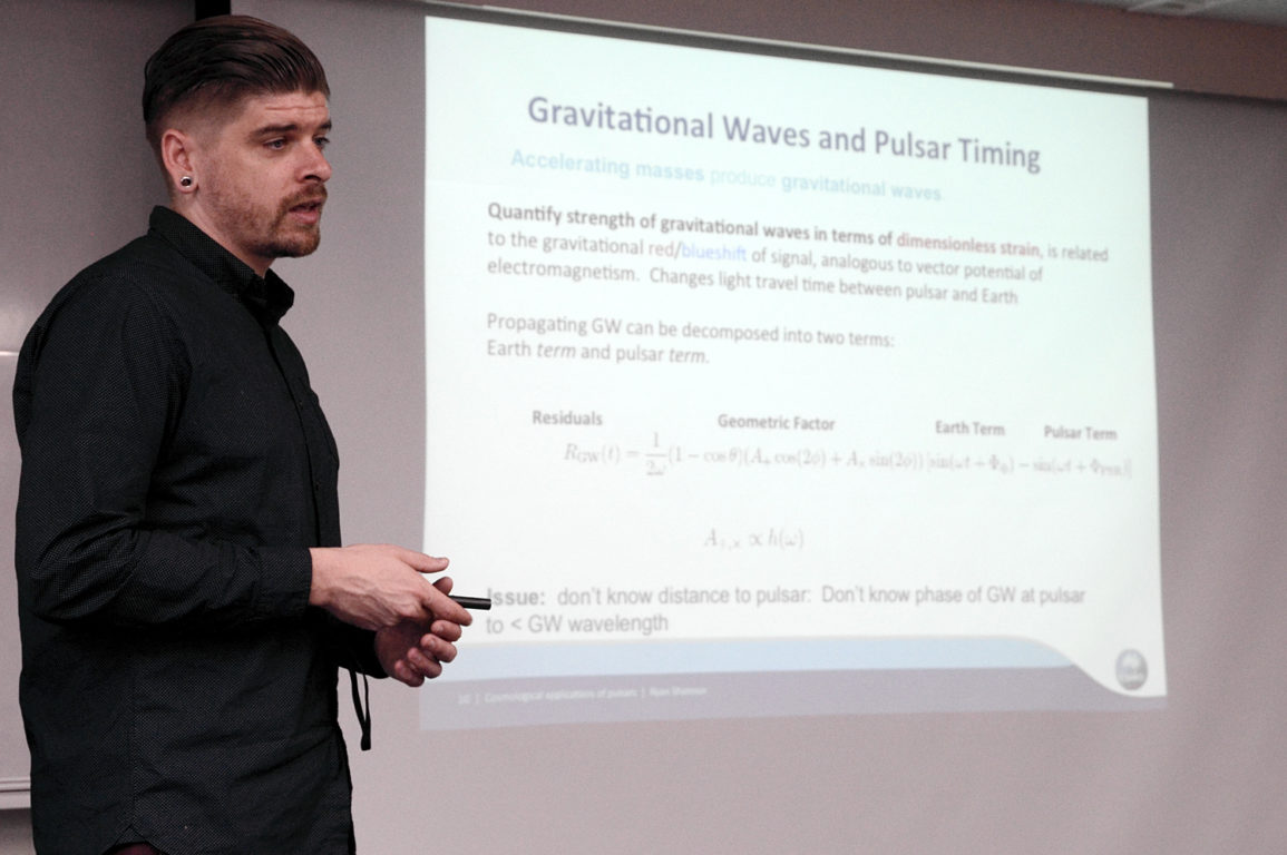 Dr Ryan Shannon giving a talk on pulsar science at Kagoshima University.