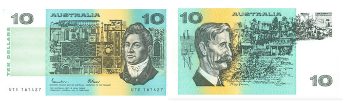 The first A$10 notes, featuring architect Francis Greenway on the front and poet Henry Lawson on the back. RBA/Wikimedia Commons