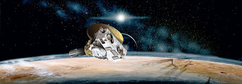 New Horizons' flies past Pluto in this artists' rendition. Image: NASA/JHUAPL